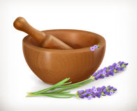 Lavender and wooden mortar Royalty Free Stock Image