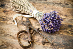 Lavender wooden table beside her scissors. Stock Photography