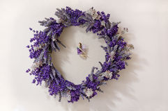 Lavender wreath with Fairy in the middle. Fresh Lavender wreath with fairy hanging in the middle royalty free stock photography