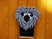 Lavender wreath in a heart shape Royalty Free Stock Photos