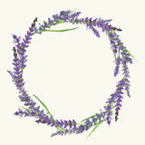 Lavender wreath, watercolor painting, illustration. Lavender wreath on beige background in Provence style, watercolor painting, vector illustration, eps 10 Stock Image