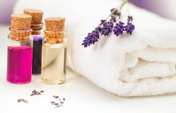 Lavendula,towel and oil Stock Photography