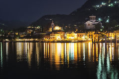 Laveno-Mombello, city lights Stock Photo