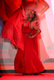 Laverne Cox walks the runway at the Go Red For Women Red Dress Collection 2015 Royalty Free Stock Image