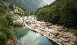 Lavertezzo在瓦尔Verzasca 瑞士 免版税库存照片