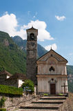 Lavertezzo, Verzasca Valley, Canton Of Ticino, Switzerland, Europe, Church, Saint Mary Of The Angels, Bell Tower Stock Photography