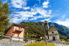 Lavertezzo, Verzasca Valley, Switzerland. The Church of Madonna degli Angeli dominates the small town of Lavertezzo, a rustic village along the breathtaking Stock Photos