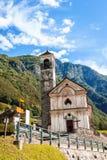 Lavertezzo, Verzasca Valley, Switzerland. The Church of Madonna degli Angeli dominates the small town of Lavertezzo, a rustic village along the breathtaking Stock Photography