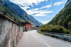 Lavertezzo, Verzasca Valley, Switzerland. The Church of Madonna degli Angeli dominates the small town of Lavertezzo, a rustic village along the breathtaking Stock Images