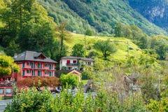 Lavertezzo, Verzasca Valley, Switzerland. Madonna degli Angeli dominates the small town of Lavertezzo, a rustic village along the breathtaking Verzasca River ( Stock Photo