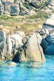Lavezzi islands rocky coastline Stock Images