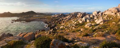 Lavezzi panorama at sunset, Corsica, France Royalty Free Stock Image