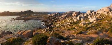 Lavezzi panorama at sunset, Corsica, France Royalty Free Stock Image