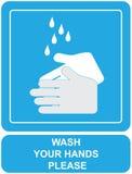 Lavi il vostro segno delle mani Fotografie Stock Libere da Diritti