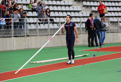 Lavillenie Renaud on DecaNation International Outdoor Games on September 13, 2015 in Paris, France. He is Olympic champion. And World record holder jump pole Royalty Free Stock Photography