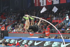 Lavillenie Renaud wins men's competition. With the result  5.82 on Samsung Pole Vault Stars meeting on February 11, 2012 in Donetsk, Ukraine. He won gold at Stock Photography