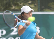 Lavinia tananta. Indonesia top tennis player, lavinia tananta, try to hit the ball when competing in international tennis Federation (ITF) So Good Open in Solo stock images