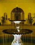 Lavish Water Fountain. A night scene of a lavish water fountain in front of a spa hotel Stock Image