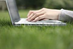 Lavorando ad un computer portatile nell'erba Fotografie Stock Libere da Diritti