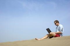 Lavorando al beach5 Fotografia Stock Libera da Diritti