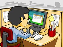 Lavorando al calcolatore illustrazione vettoriale