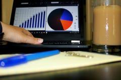 Lavorando al computer con caffè fotografie stock libere da diritti