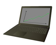 Lavorando al computer portatile Immagini Stock