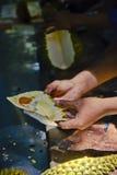 Lavorando al Durian Fotografie Stock Libere da Diritti