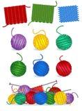 Lavorando a maglia - filato, aghi, campioni illustrazione di stock