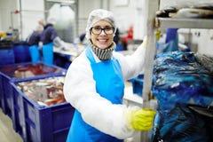 Lavorando nella pianta dei frutti di mare Fotografia Stock Libera da Diritti