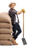 Lavoratore agricolo che si appoggia mucchio dei sacchi della tela da imballaggio Immagini Stock