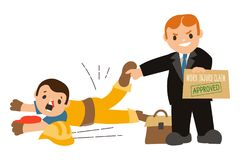 Lavoratore caduto con il naso rotto e pozza di sangue con un avvocato che indica il dito Immagine Stock