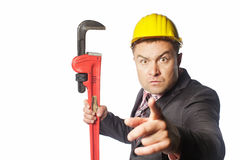 Lavoratore in casco giallo Fotografia Stock Libera da Diritti