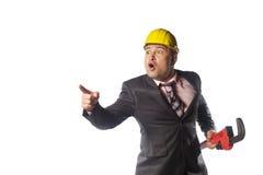 Lavoratore in casco giallo Fotografia Stock