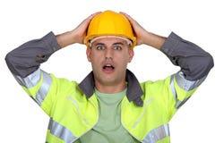 Lavoratore che boccheggia. Fotografia Stock
