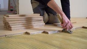 Lavoratore che installa parquet di legno archivi video