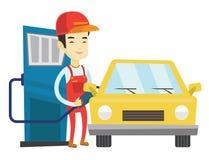 Lavoratore che riempie combustibile nell'automobile alla stazione di servizio illustrazione vettoriale