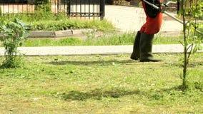 Lavoratore che taglia un'erba facendo uso di un regolatore all'aperto stock footage