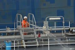 Lavoratore cinese al porto di Rotterdam Fotografie Stock Libere da Diritti
