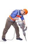 Lavoratore con l'attrezzatura pneumatica del martello pneumatico isolata Immagini Stock Libere da Diritti