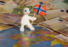 Lavoratore con la bandiera - Norvegia Immagini Stock Libere da Diritti