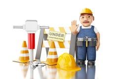 lavoratore 3d con il martello pneumatico, i coni ed il segno in costruzione Fotografie Stock Libere da Diritti