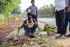 Lavoratore del bordo della strada nel cereale del sud di torrefazione dell'India Fotografia Stock Libera da Diritti