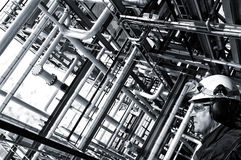 Lavoratore del gas e del petrolio nel profilo Fotografie Stock