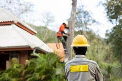 Lavoratore del riparatore del guardalinee dell'elettricista sul palo di potere elettrico della posta Fotografia Stock Libera da Diritti