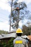 Lavoratore del riparatore del guardalinee dell'elettricista sul palo di potere elettrico della posta Fotografia Stock