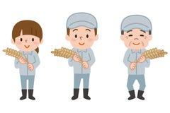 Lavoratore dell'agricoltore che tiene un grano illustrazione vettoriale