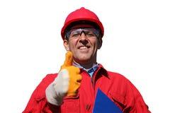 Lavoratore dell'industria sorridente sopra fondo bianco Fotografie Stock