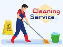 Lavoratore dell'uomo che passa lo straccio sul pavimento Servizio maschio di pulizia Illustrazione di vettore in uno stile piano illustrazione di stock