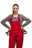 Lavoratore della ragazza con la chiave Fotografia Stock